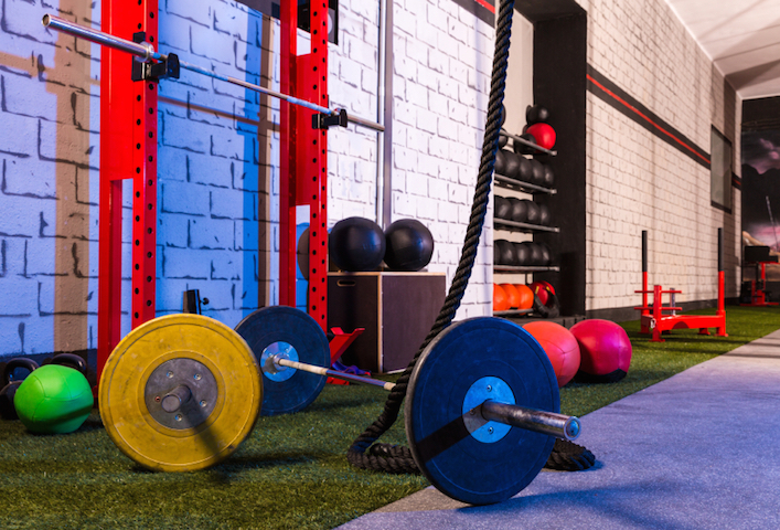 Barbells in a gym bar bells and rope