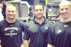 Boston University strength and conditioning coach Anthony Morando (left) poses with Mike Potenza (center), his counterpart from the NHL's San Jose Sharks and Ken Hetzel of the Worcester Sharks.